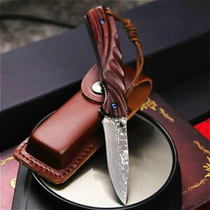 Damascus Steel sharp Folding Knife VG10 Tactical Hunting Knives pocket Tool Gift