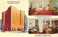 Birmingham Alabama~Dinkler-Tutwiler Hotel~Artist~Inside & Out~1963 Postcard