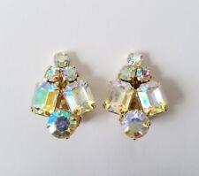 Vintage Coro Aurora Borealis Goldtone Earrings Clip On Backs Signed