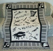 New Piano Cello Trumpet Saxophone Music Notes Afghan Blanket School Teacher Gift