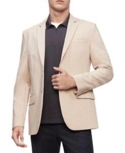 MSRP $178 Calvin Klein Move 365 Stretch 2-Button Blazer Beige Size Medium