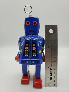 New Schylling Collector Series Space Robot Key Wound Motor Blue MS403 Wind Up