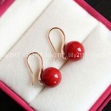 Natural 10mm Coral Red Sea Shell Pearl 14k Gold Plated Hook Dangle Earrings AAA