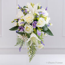 Silk Bridal Shower Bouquet in Ivory & Lilac, Mixed County style bouquet, Wedding
