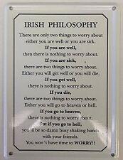 IRLANDAIS philosophie drôle MINIATURE panneau métallique / CARTE POSTALE