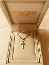 Sterling Silver Cross Necklace by Marathon New In Box