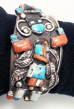 HEAVY OLD VINTAGE STERLING MULTI-STONE ZUNI RAINBOW KACHINA BRACELET- QUALITY!!