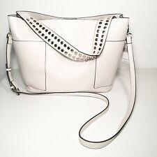 Steve Madden White Leather with Silver Studs Satchel Handbag  New