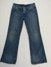 *A-199 LADIES LEVI'S 649 WIDE LEG DISTRESSED BLUE DENIM JEANS SIZE 12