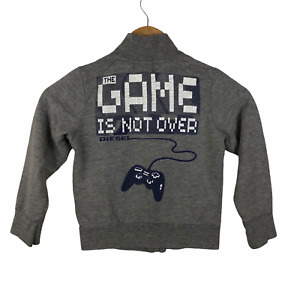 Diesel Boy's Full Zip Sweater Size 5 The Game Is Not Over Gamer Controller Gray
