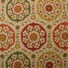 """RICHLOOM CORNWALL SPICE FLORAL SUZANI RED GREEN LINEN MULTIUSE FABRIC BTY 54""""W"""