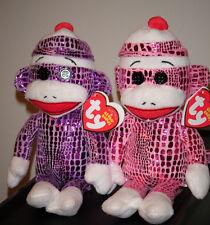 Ty Beanie Babies - SOCK MONKEY Set of 2 (Sparkle Pink & Purple) - MWMT's ~ NEW