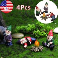 4PCS Miniature Garden Gnomes Dwarfs Statue Dollhouse Fairy Figurine Garden Decor