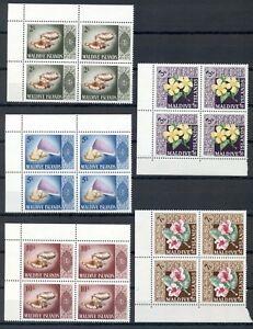MALDIVES *1966* compl.set 10 stamps in Blocks of 4*MNH**Flora & Fauna- Mi.172-81