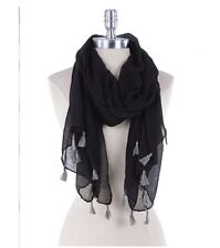 Beautiful Black Scarf with Gray Tassels