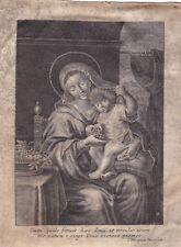rare vintage etching on parchment Virgo & Christ by Van Merlen 1700 Kupferstich
