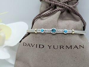 David yurman Renaissance Three Station Blue Topaz Turquoise &18K Gold bracelet M