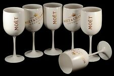 Champagne Moët & Chandon Ice Imperial 6 Wite Acrylic Glasses NEW RARE