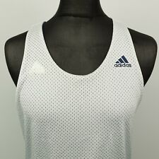 Adidas Para Hombre Camiseta sin mangas chaleco de malla Medio Blanco activewear