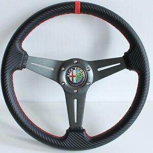 Steering Wheel Alfa Romeo Racing Carbon Leather Sport 145 155 164 33 75 NO HUB