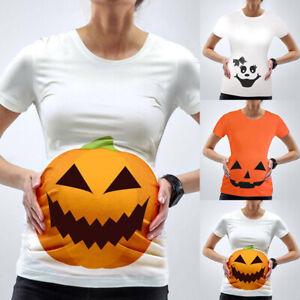 Women Maternity Halloween Pumpkin T-Shirt Pregnant Short Sleeve Party Top Blouse