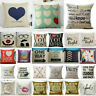 Cotton Linen Heart Home Decorative Throw Pillow Case Sofa Waist Cushion Cover