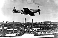 New 5x7 Korean War Photo: P-51 Mustang Releases Napalm Bombs over Korea - 1951