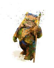 Ewok Wicket Star Wars A3 Digital Watercolour Splash Effect Poster Print