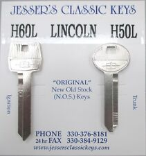 Vintage NOS Lincoln Star Nickel Key Set Fits Town Car & Mark Series 1985 1986