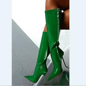 Women's Pointed Toe Mid-Calf Boots Eveing Party Causal Faux Patent Leather Shoes