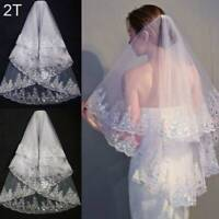 Extra Long Cathedral Applique Edge Lace Bridal Wedding Veil Short Veil With Comb