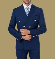 Custom Double Breasted Formal Men's Wear Groom Wedding Tuxedos Dinner Party Suit