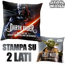 Cuscino Darth Vader e Yoda 40 x 40 cm a 2 Lati Cameretta Bambini Star Wars Kids