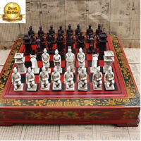 Terracotta Army Antique Chess Set Board BOX Carved Unique Vintage Collectible