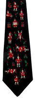 Naughty Santa Claus Men's Necktie Christmas Holiday Holly Funny Black Neck Tie