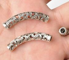 10pcs Tibetan Silver  Hollow Out Bend Tube spacer Beads  36x5mm A3364
