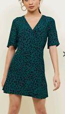WRAP OVER DRESS size 6 petite GREEN pink NEW LOOK tea MINI leopard print