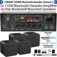 110w Bluetooth Verstärker & 4x 80w schwarz Lautsprecher – Hintergrund Wireless H...