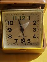 Vintage ~ WESTCLOX Wind Up Travel Alarm Clock ~ Brown Case ~ Works