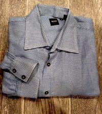 Men's Hugo Boss Dress Shirt Blue White Small Checkers Size XL Long Sleeves EUC