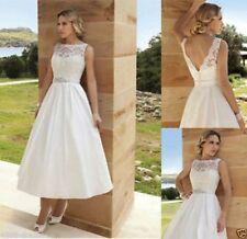 31010c28c48a Tea Length Short Lace Ivory/White Bridal Gown Wedding Dress Bridal Gown  Size6-18