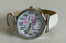 NEW! SANRIO HELLO KITTY MOTHER OF PEARL DIAL WHITE LEATHER STRAP WATCH $45 SALE
