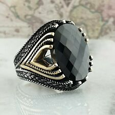 Solid 925 Sterling Silver Mens Ring Black Agate Gemstone HandMade Turkish Style