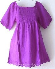 NEW~Orchid Eyelet Lace Empire Peasant Blouse Tunic Boho Shirt Top~12/14/L/Large