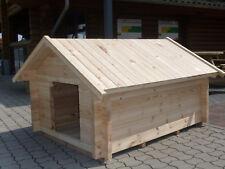 "Hundehütte ""XL"" 40mm-Wandstärke 28mm-Fussboden Satteldach Massivholz Natur"
