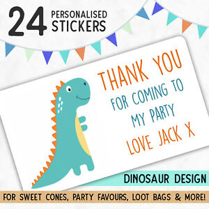 24 Personalised DINOSAUR Birthday Stickers, Thank You Stickers Party Bags Cones
