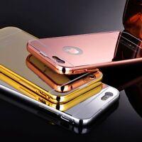 Luxury Aluminum Metal Bumper Mirror case+Tempered Glass for iPhone 5s 6 6s Plus