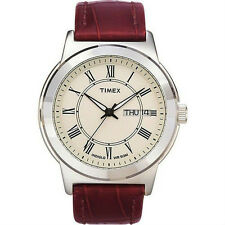 Mens Timex Indiglo Brown Leather Band Cream Dial with Day and Date Watch T2E581