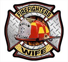 "Firefighter Decal - Firefighters Wife Maltese Diamond Plate Sticker 4"""