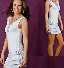 SeXy Damen Girly Trend Volant Mini Kleid Gürtel Look Kette 34/36/38 weiß NEU